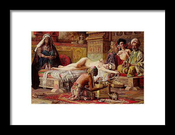 Nude Framed Print featuring the painting The Favorite Of The Harem by Gyula Tornai