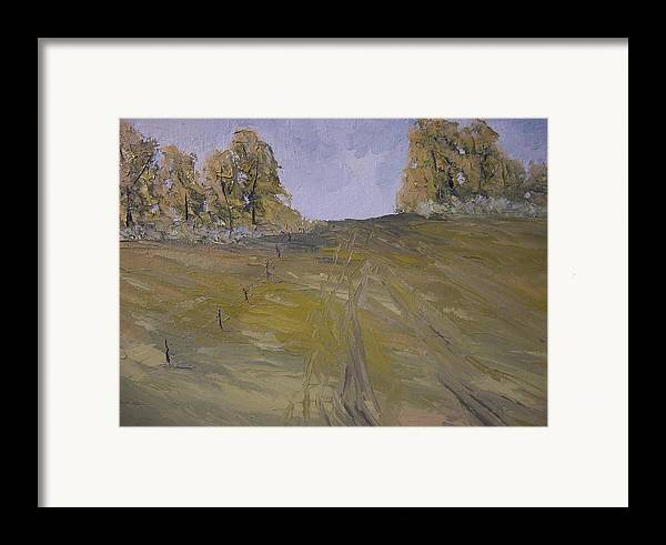 Oil Framed Print featuring the painting The Fence Row by Dwayne Gresham