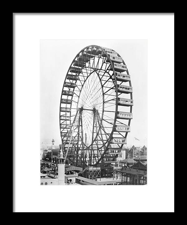 Fairground Framed Print featuring the photograph The Ferris Wheel At The Worlds Columbian Exposition Of 1893 In Chicago Bw Photo by American Photographer