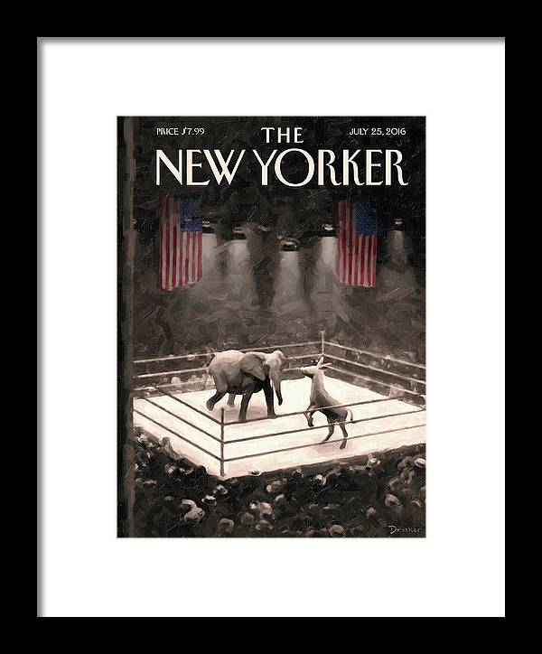 Election Framed Print featuring the painting The Fight Begins by Eric Drooker