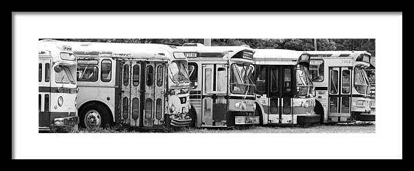 Old Bus Framed Print featuring the photograph The Finish Line by Karl Anderson