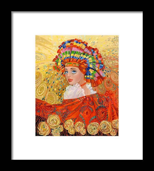 Girl Framed Print featuring the painting The Firebird Fabulous by Olga Panina