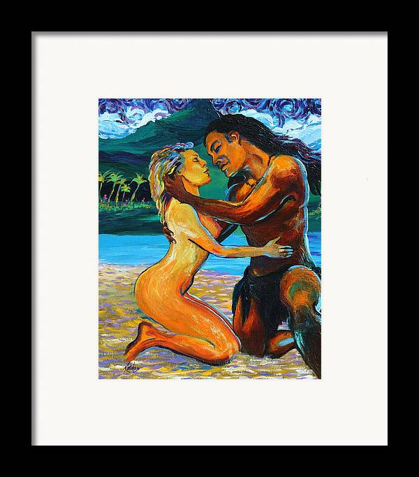 Nude Framed Print featuring the painting The First Kiss by Karon Melillo DeVega