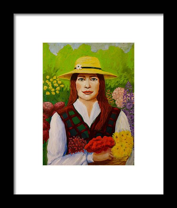 Portraits Framed Print featuring the painting The Flowers by Miquelon Gray