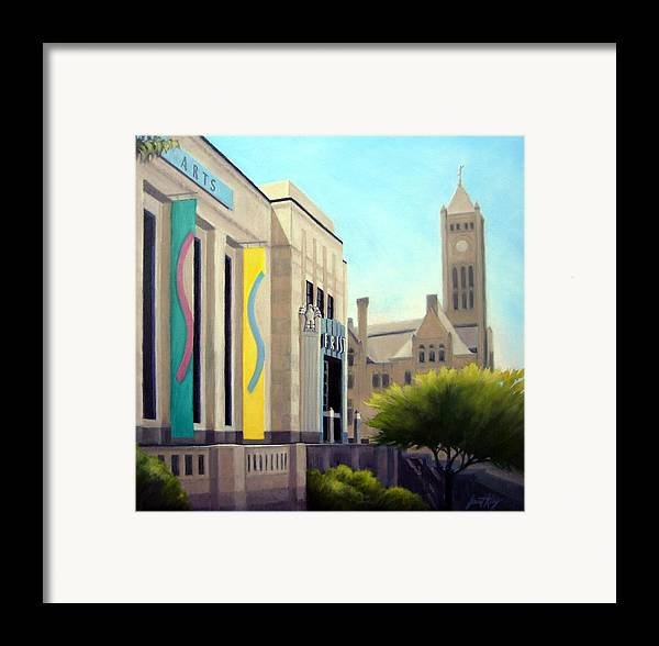 Frist Center For The Visual Arts Framed Print featuring the painting The Frist Center by Janet King
