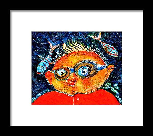 Caricature Framed Print featuring the painting The Funny Frog Man by ITI Ion Vincent Danu