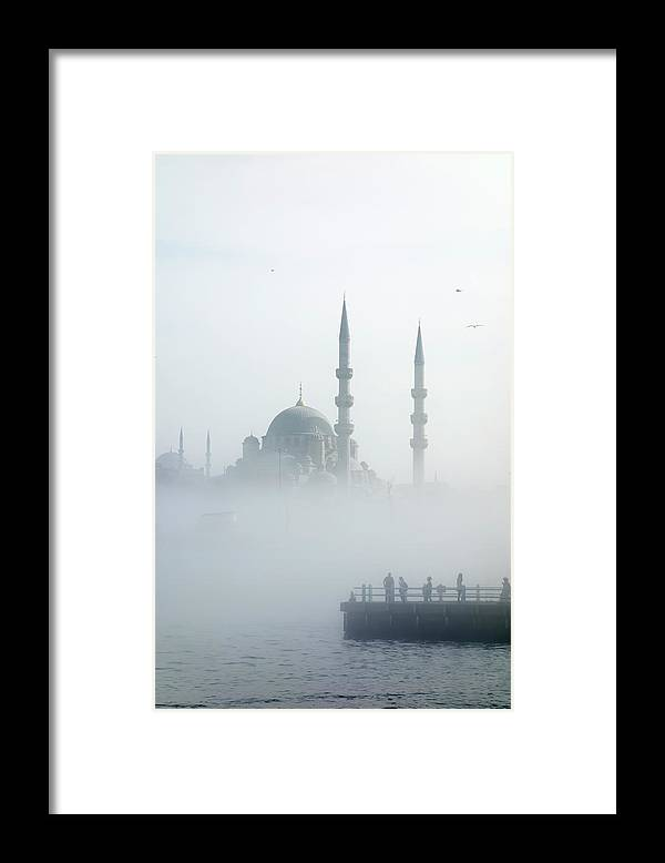 Istanbul Framed Print featuring the photograph The Galata Bridge Leads Across Golden by Jazzirt