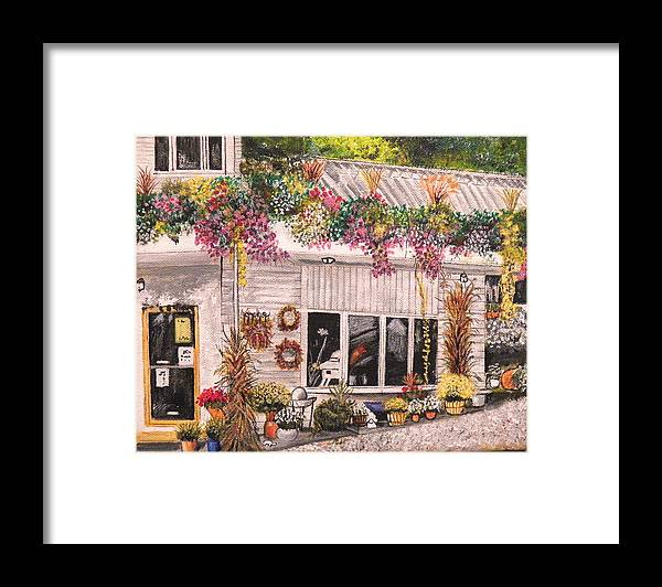Landscape Framed Print featuring the painting The Garden Shop by Jim Reale