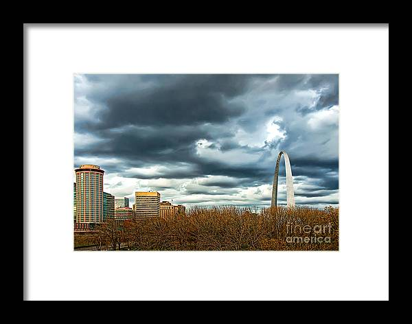 Gateway Arch Framed Print featuring the photograph The Gateway Arch Downtown St. Louis by Cindy Tiefenbrunn