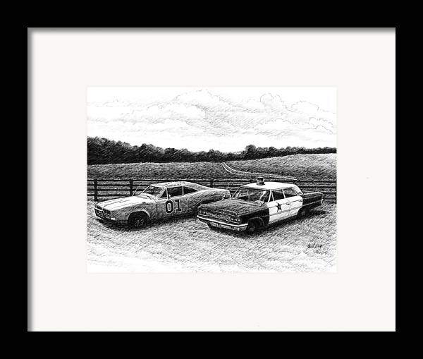 The General Lee Framed Print featuring the drawing The General Lee And Barney Fife's Police Car by Janet King