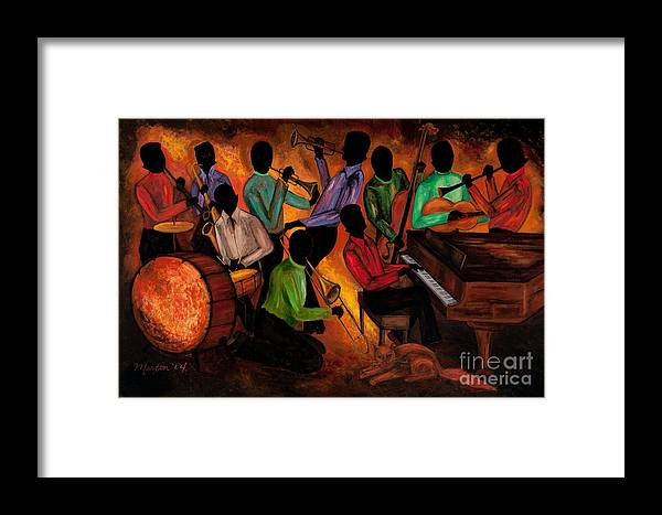 Cat Framed Print featuring the painting The Gitdown Hoedown by Larry Martin