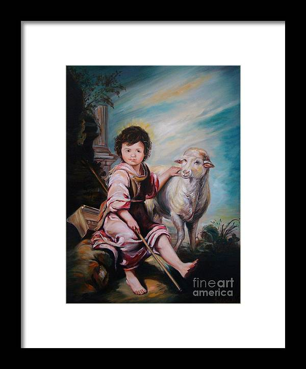 Classic Art Framed Print featuring the painting The Good Shepherd by Silvana Abel