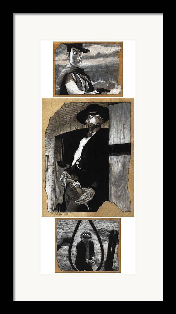 Clint Eastwood Framed Print featuring the drawing The Good The Bad And The Grouchy by Justin Clark