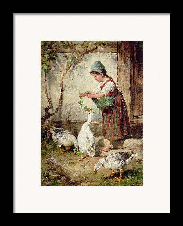 Goose Framed Print featuring the painting The Goose Girl by Antonio Montemezzano