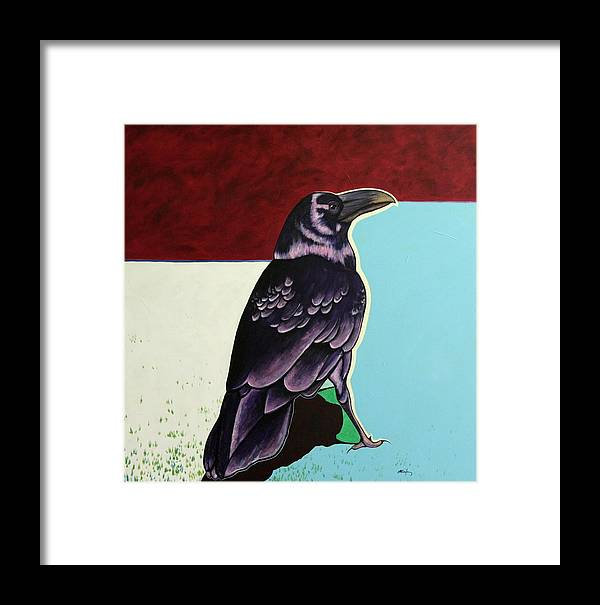 Wildlife Framed Print featuring the painting The Gossip - Raven by Joe Triano