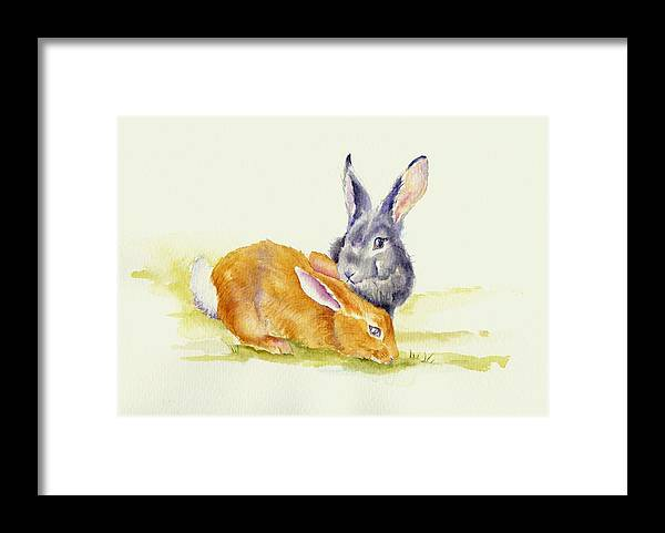 Rabbits Framed Print featuring the painting The Grass Is Always Greener by Debra Hall
