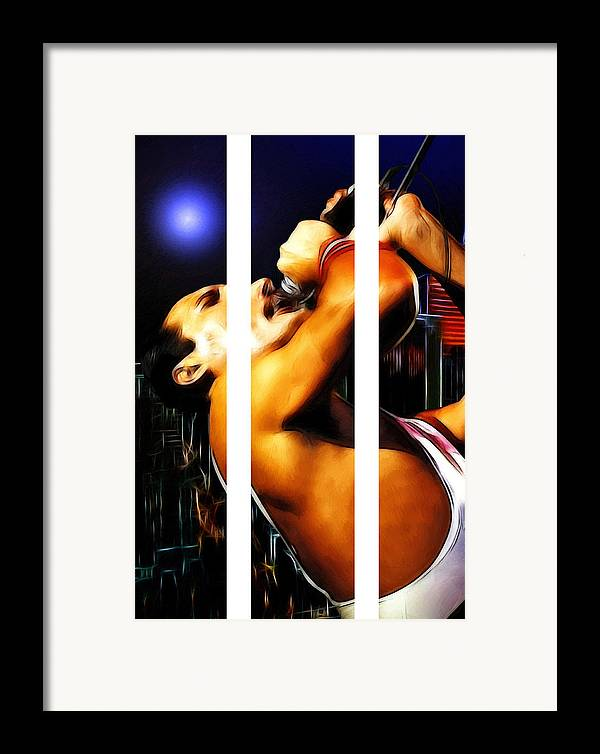 Rock Music Freddie Mercury Queen Famous Band 80s 70s 90s Star Song Songwriter Framed Print featuring the painting The Great Pretender by Steve K