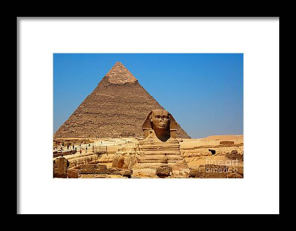 Africa Framed Print featuring the photograph The Great Sphinx Of Giza And Pyramid Of Khafre by Joe Ng