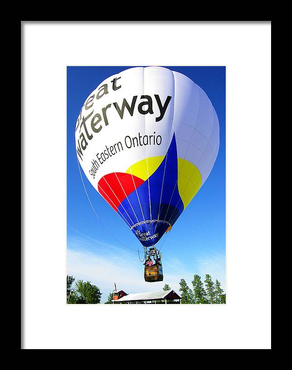'hot Air Balloon' Framed Print featuring the photograph The Great Waterway Balloon by Paul Wash
