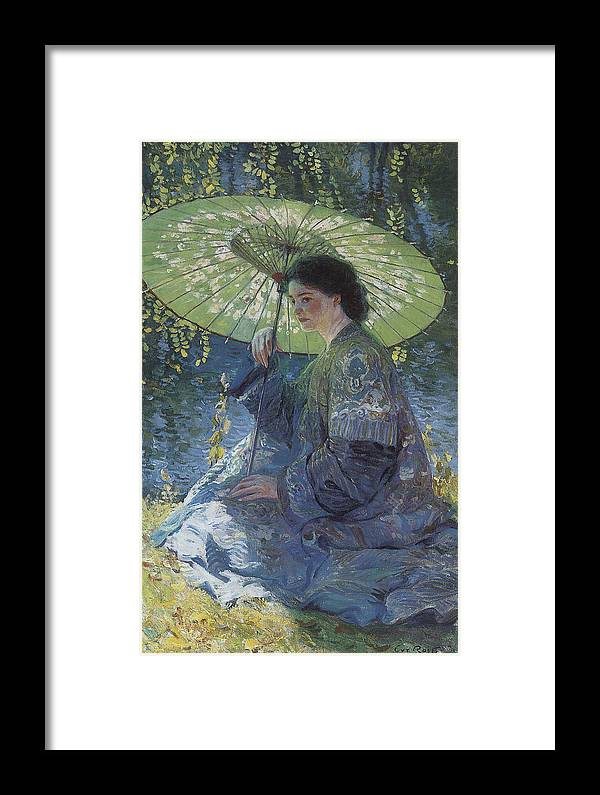 Guy Rose Framed Print featuring the painting The Green Parasol by Guy Rose