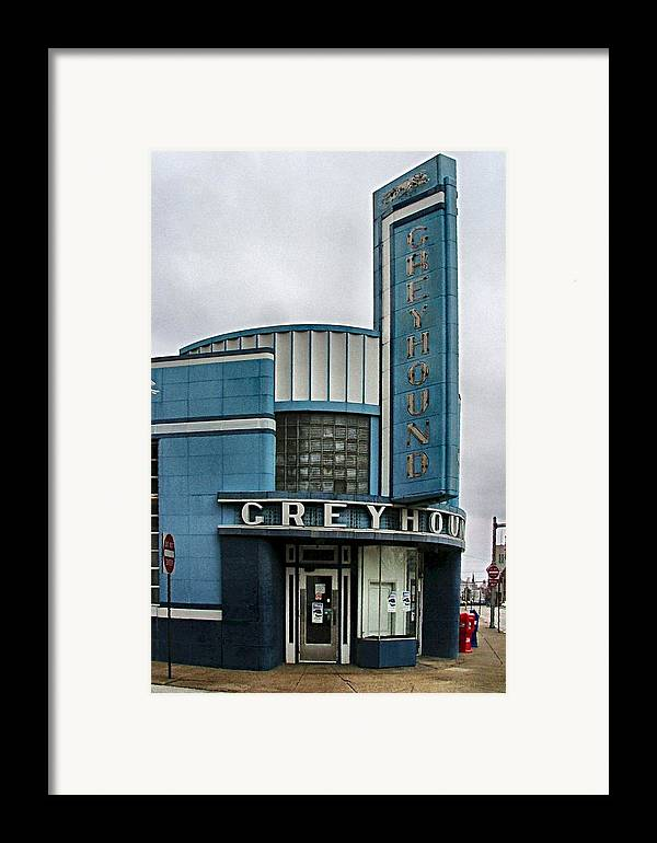 Old Bus Stations Framed Print featuring the photograph The Greyhound Bus Station by Julie Dant