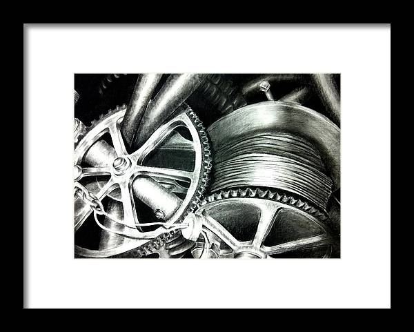 Original Framed Print featuring the drawing The Grind by Stephanie LeVasseur