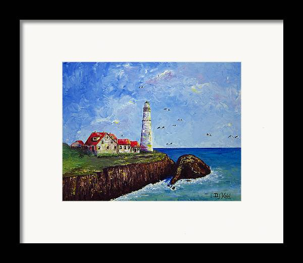 Lighthouse Framed Print featuring the painting The Guardian by Dottie Kinn