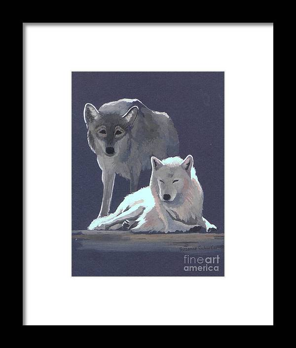 Wolves Framed Print featuring the painting The Guardian by Suzanne Schaefer