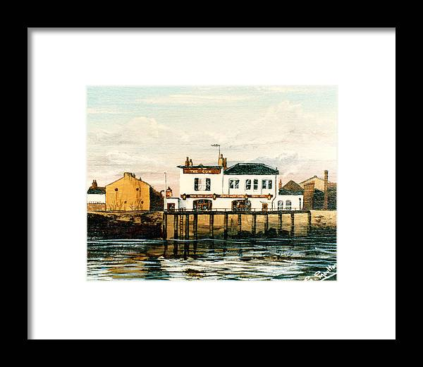 Gun Pub Framed Print featuring the painting The Gun Public House Isle Of Dogs London by Mackenzie Moulton