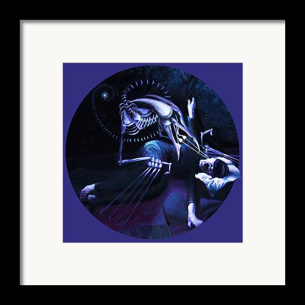 Shelley Irish Framed Print featuring the painting The Hallucinator by Shelley Irish