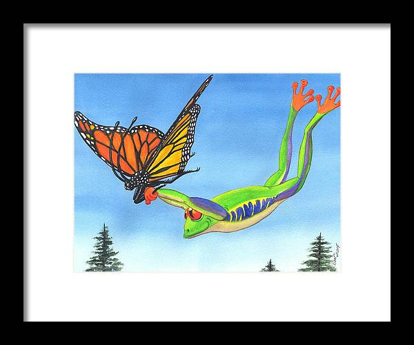 Frog Framed Print featuring the painting The Hang Glider by Catherine G McElroy