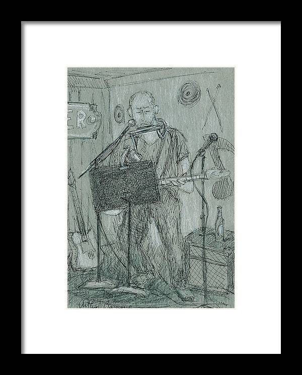 Musician Framed Print featuring the drawing The Harp Player by Arthur Barnes