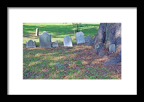 Grave Framed Print featuring the photograph The Headstones Of Slaves by Suzanne Gaff
