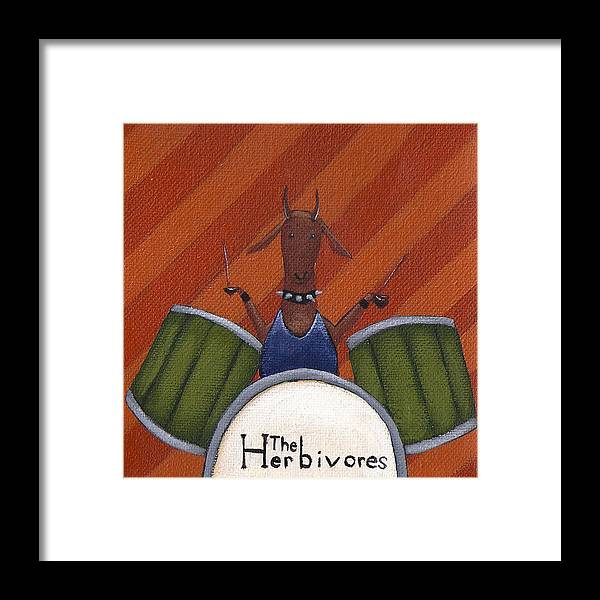 Gazelle Framed Print featuring the painting The Herbivores by Christy Beckwith
