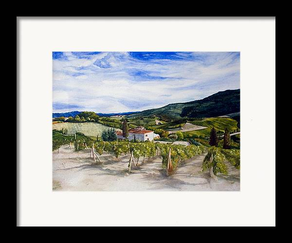 Landscape Framed Print featuring the painting The Hills Of Tuscany by Monika Degan