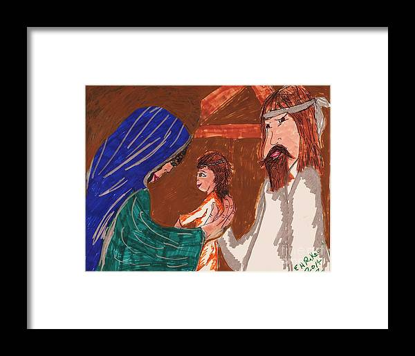 Mary Holding Jesus And Joseph Standing Next To Them. Jesus Is No Longer A Newborn Framed Print featuring the mixed media The Holy Family by Elinor Helen Rakowski