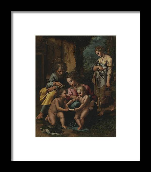 The Holy Family Framed Print featuring the painting The Holy Family by Giulio Romano