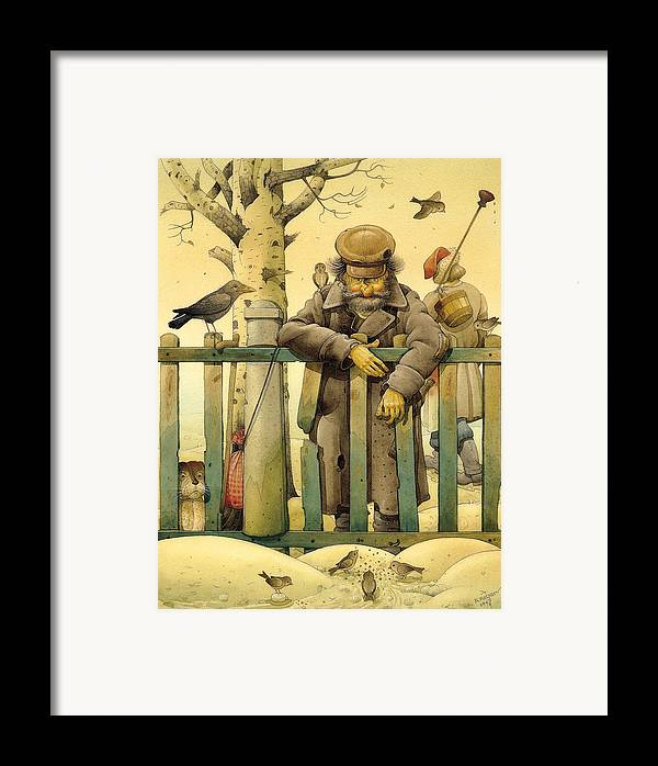 Russian Figures Winter Birds Dog Ladscape Holiday Christmas Framed Print featuring the painting The Honest Thief 02 Illustration For Book By Dostoevsky by Kestutis Kasparavicius
