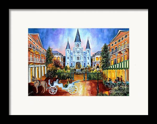 New Orleans Framed Print featuring the painting The Hours On Jackson Square by Diane Millsap