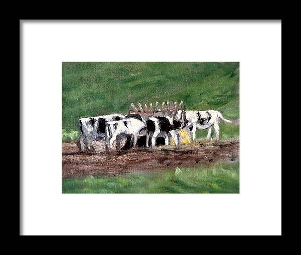 Cow Paintings Framed Print featuring the painting The Hungry Years by David Zimmerman