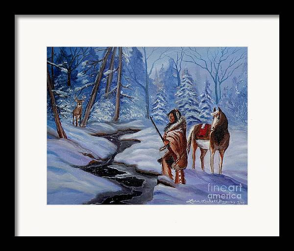 Winter Landscape Framed Print featuring the painting The Hunt by Lora Duguay