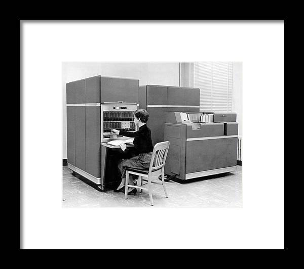The Ibm Main Frame 650 Computer Framed Print by Underwood Archives