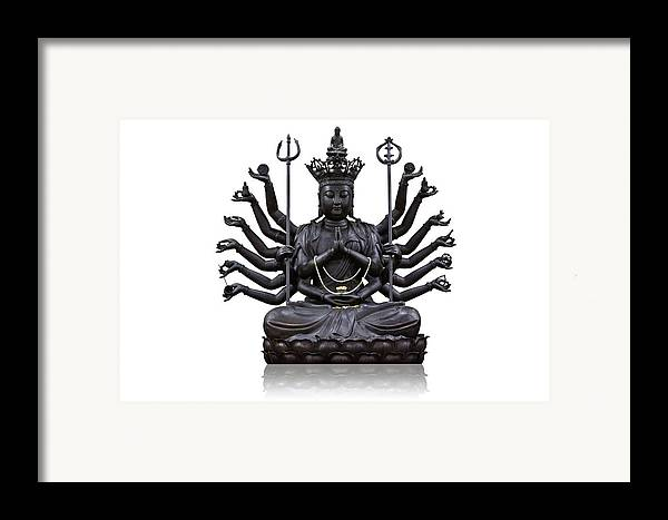 Angel Framed Print featuring the photograph The Images Of Guanyin Black by Tosporn Preede