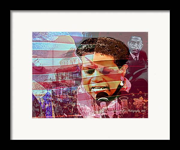 Barack Obama Framed Print featuring the digital art The Invocation by Lynda Payton