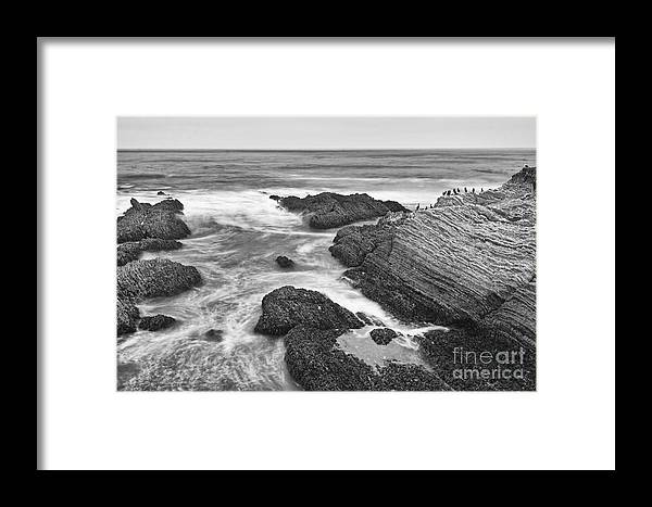 Montana De Oro Framed Print featuring the photograph The Jagged Rocks And Cliffs Of Montana De Oro State Park In California In Black And White by Jamie Pham