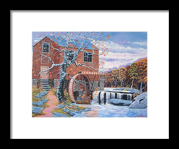 Old Water Mill Framed Print featuring the painting The Jamestown Mill by Seth Wade