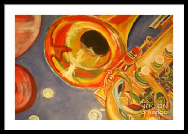 Wind Instrument Framed Print featuring the painting The Jazz Horn by Raymond Sellers