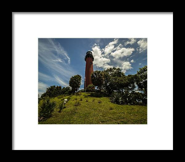 Lighthouse Framed Print featuring the photograph The Jupiter Inlet Lighthouse by George Kenhan