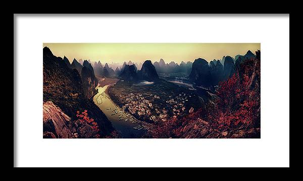 Panorama Framed Print featuring the photograph The Karst Mountains Of Guangxi by Clemens Geiger