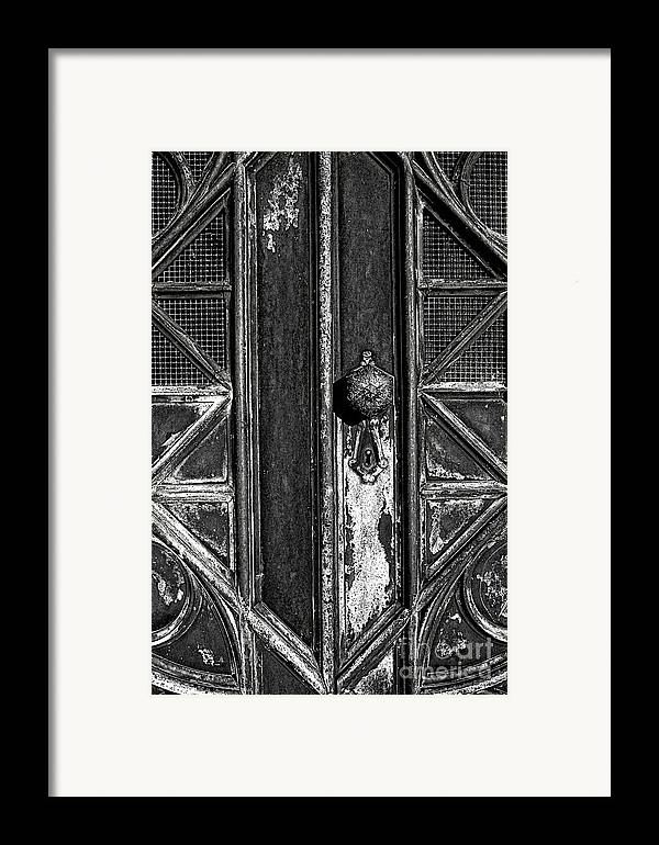 Aged Framed Print featuring the photograph The Key Hole by Darren Fisher